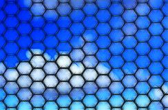 Black hexagonal fibre pattern. With blue gradient background Royalty Free Stock Photos
