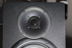 Black hi-fi speaker tweeter for treble frequency sound. Black hi-fi speaker dome tweeter for high frequency sound. The treble component driver of a black Royalty Free Stock Photos