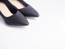 Black high hee. L shoes on white background Royalty Free Stock Images