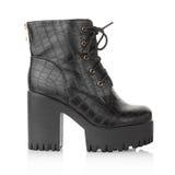 Black high heel crocodile boot Royalty Free Stock Images