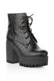 Black high heel crocodile boot for woman Stock Images