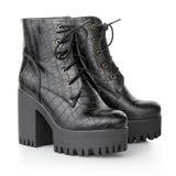 Black high heel crocodile boots Royalty Free Stock Image