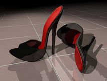 Black high heel mules Stock Photo