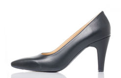 Black High Heel Shoe on White background Stock Photography