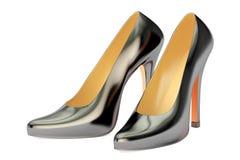 Black high heel shoes closeup, 3D rendering royalty free illustration