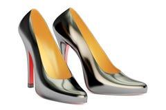 Black high heel shoes, 3D rendering royalty free illustration