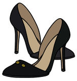 Black high heel shoes. Hand drawing of black high heel shoes Royalty Free Stock Images