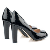 Black high heel shoes isolated on white background. Royalty Free Stock Images