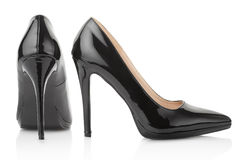 Black, high heel shoes for woman. Black, high heel, elegant shoes for woman, lateral and back view on white, clipping path included stock photography