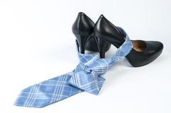 Black high heel show and neck tie Royalty Free Stock Image