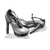 Black high heel woman shoe image on white background. Black high heel woman shoe image. Picture with black heel logo. Beautiful black high heel shoes on white Royalty Free Stock Photography