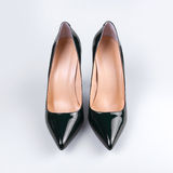 Black high heel women shoes on white backgroun Stock Images