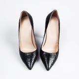 black high heel women shoes on white backgroun Stock Photos