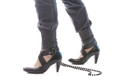 Black high-heeled boots Royalty Free Stock Image