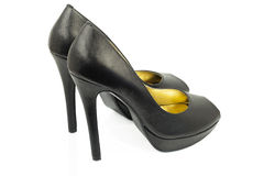 Black high -heeled shoes Royalty Free Stock Images