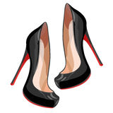Black high-heeled shoes Stock Images