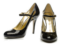 Black High Heels Shoes - Front and Side View Royalty Free Stock Images