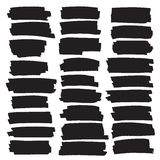 Black highlight stripes, banners drawn with markers. vector illustration