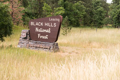 Black Hills Forest Roadside Monument Sign South nazionale Dakota fotografia stock