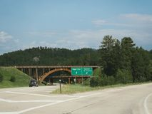 Black Hills, South Dakota photos. Black Hills, South Dakota--July 2018: Intersection with an overpass to Rapid City and Keystone City at Black Hills, South royalty free stock photo