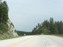 Black Hills, South Dakota photos. Black Hills, South Dakota--July 2018: Scenic drives along a smooth paved road through the Black Hills toward Mt Rushmore, South stock photography
