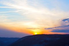 Black hills at sunset. Stock Photos