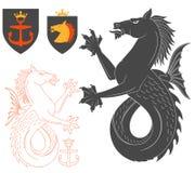 Black Hippocampus Illustration. For Heraldry Or Tattoo Design  On White Background. Heraldic Symbols And Elements Stock Photo