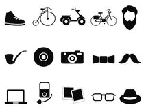 Black hipster icons set Royalty Free Stock Images