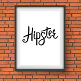 Black Hipster Message in a Frame Hanging on a Wall stock illustration