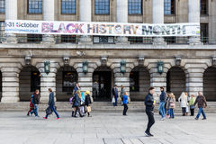 Black History Month banner on Nottingham City Council House buil Royalty Free Stock Image
