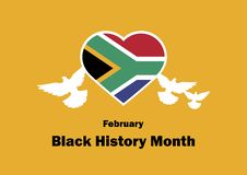 Black History Month vector. Flag of South Africa in Heart shape. February 2019, African-American History Month. Important day royalty free illustration