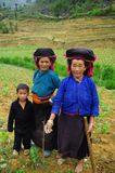 Black Hmong family. In fields Stock Photos