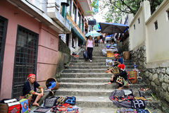 Black Hmong's people sell goods on stairs Stock Photo