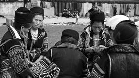 Black Hmong's women with traditional textile royalty free stock photography