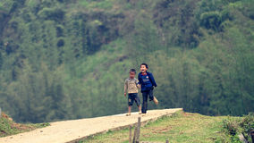 Black Hmong tribe children. Vietnamese Black Hmong tribe children on a path in Sapa Valley royalty free stock photography