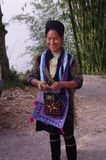 Black Hmong Woman. Black Hmong young women in the region of SAPA (North Vietnam). Hmong women still wear a dress. The Black Hmong women are dressed all in black Stock Photos