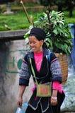 Black Hmong Woman Carrying Fresh Herbs, Sapa, Vietnam Royalty Free Stock Images