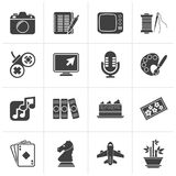 Black Hobbies and leisure Icons royalty free illustration