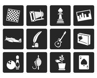 Black Hobby, Leisure and Holiday Icons. Vector Icon Set Royalty Free Stock Photo