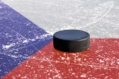 Black hockey puck Royalty Free Stock Image