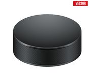 Black Hockey puck. Vector Illustration. Royalty Free Stock Photo
