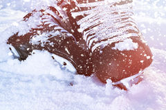 Black hockey skates lying in the snow and bright sun Royalty Free Stock Images