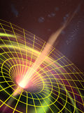 Black hole. A black hole attracting space matter. Digital illustration stock illustration