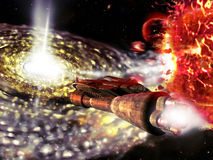 The black hole. A spaceship approaches a black hole. Close to the spaceship, several stars  and planets split due to the black hole attraction Royalty Free Stock Photo