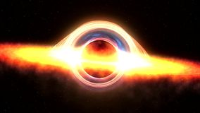 Black hole attracting space matter. 4k video 3d rendering Stock Photography