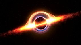 Black hole attracting space matter. 4k video 3d rendering Royalty Free Stock Photography