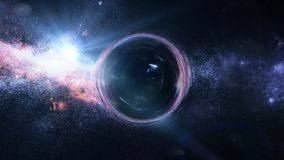 Black hole with gravitational lens effect in front of bright stars stock photo