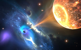 Black hole or a neutron star and pulling gas from an orbiting companion star. Illustration Royalty Free Stock Photo