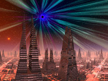 Black Hole over Futuristic City Royalty Free Stock Photo