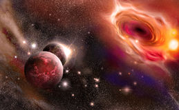Black hole and planets Royalty Free Stock Photos